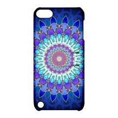 Power Flower Mandala   Blue Cyan Violet Apple iPod Touch 5 Hardshell Case with Stand