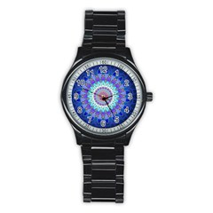 Power Flower Mandala   Blue Cyan Violet Stainless Steel Round Watch