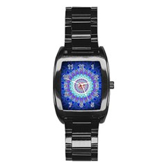 Power Flower Mandala   Blue Cyan Violet Stainless Steel Barrel Watch