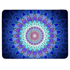 Power Flower Mandala   Blue Cyan Violet Samsung Galaxy Tab 7  P1000 Flip Case