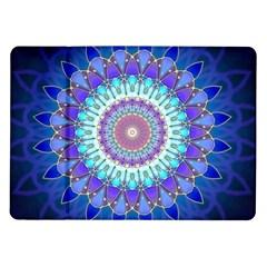Power Flower Mandala   Blue Cyan Violet Samsung Galaxy Tab 10.1  P7500 Flip Case