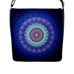 Power Flower Mandala   Blue Cyan Violet Flap Messenger Bag (L)
