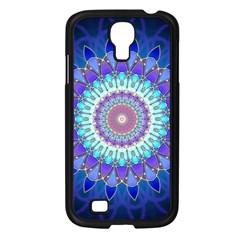 Power Flower Mandala   Blue Cyan Violet Samsung Galaxy S4 I9500/ I9505 Case (Black)