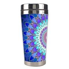 Power Flower Mandala   Blue Cyan Violet Stainless Steel Travel Tumblers