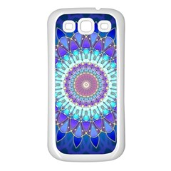 Power Flower Mandala   Blue Cyan Violet Samsung Galaxy S3 Back Case (White)