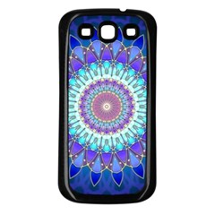 Power Flower Mandala   Blue Cyan Violet Samsung Galaxy S3 Back Case (Black)
