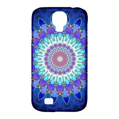 Power Flower Mandala   Blue Cyan Violet Samsung Galaxy S4 Classic Hardshell Case (PC+Silicone)