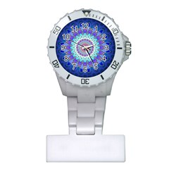 Power Flower Mandala   Blue Cyan Violet Plastic Nurses Watch