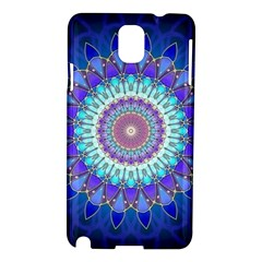 Power Flower Mandala   Blue Cyan Violet Samsung Galaxy Note 3 N9005 Hardshell Case