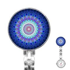 Power Flower Mandala   Blue Cyan Violet Stainless Steel Nurses Watch