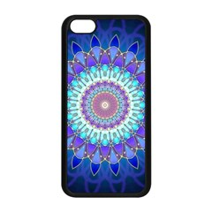 Power Flower Mandala   Blue Cyan Violet Apple iPhone 5C Seamless Case (Black)
