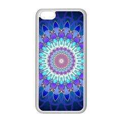 Power Flower Mandala   Blue Cyan Violet Apple iPhone 5C Seamless Case (White)