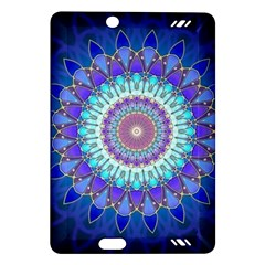 Power Flower Mandala   Blue Cyan Violet Amazon Kindle Fire HD (2013) Hardshell Case