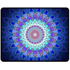 Power Flower Mandala   Blue Cyan Violet Double Sided Fleece Blanket (Medium)