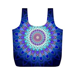 Power Flower Mandala   Blue Cyan Violet Full Print Recycle Bags (M)