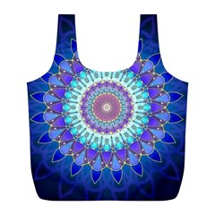 Power Flower Mandala   Blue Cyan Violet Full Print Recycle Bags (L)