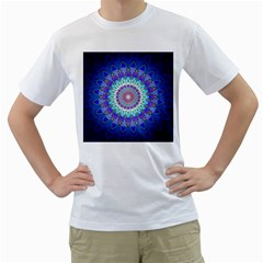 Power Flower Mandala   Blue Cyan Violet Men s T-Shirt (White)