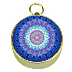 Power Flower Mandala   Blue Cyan Violet Gold Compasses