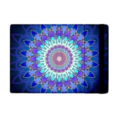 Power Flower Mandala   Blue Cyan Violet iPad Mini 2 Flip Cases