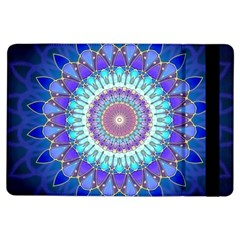 Power Flower Mandala   Blue Cyan Violet iPad Air Flip