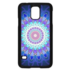 Power Flower Mandala   Blue Cyan Violet Samsung Galaxy S5 Case (Black)