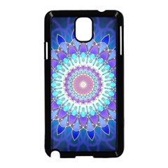 Power Flower Mandala   Blue Cyan Violet Samsung Galaxy Note 3 Neo Hardshell Case (Black)