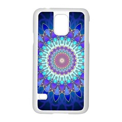 Power Flower Mandala   Blue Cyan Violet Samsung Galaxy S5 Case (White)