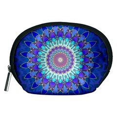 Power Flower Mandala   Blue Cyan Violet Accessory Pouches (Medium)