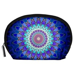 Power Flower Mandala   Blue Cyan Violet Accessory Pouches (Large)
