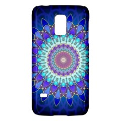 Power Flower Mandala   Blue Cyan Violet Galaxy S5 Mini