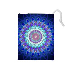 Power Flower Mandala   Blue Cyan Violet Drawstring Pouches (Medium)