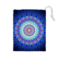 Power Flower Mandala   Blue Cyan Violet Drawstring Pouches (Large)