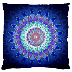 Power Flower Mandala   Blue Cyan Violet Large Flano Cushion Case (One Side)