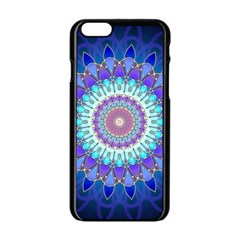 Power Flower Mandala   Blue Cyan Violet Apple iPhone 6/6S Black Enamel Case