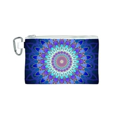 Power Flower Mandala   Blue Cyan Violet Canvas Cosmetic Bag (S)