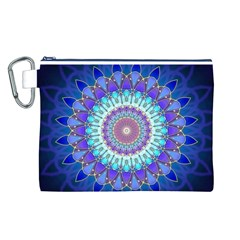 Power Flower Mandala   Blue Cyan Violet Canvas Cosmetic Bag (L)