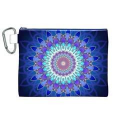 Power Flower Mandala   Blue Cyan Violet Canvas Cosmetic Bag (XL)
