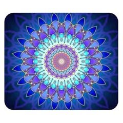 Power Flower Mandala   Blue Cyan Violet Double Sided Flano Blanket (Small)