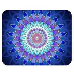 Power Flower Mandala   Blue Cyan Violet Double Sided Flano Blanket (Medium)