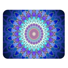 Power Flower Mandala   Blue Cyan Violet Double Sided Flano Blanket (Large)