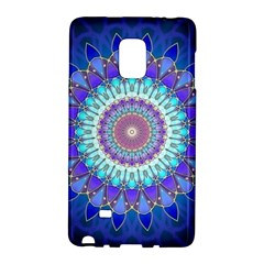 Power Flower Mandala   Blue Cyan Violet Galaxy Note Edge