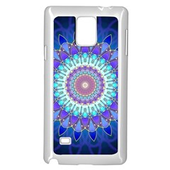 Power Flower Mandala   Blue Cyan Violet Samsung Galaxy Note 4 Case (White)