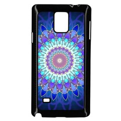Power Flower Mandala   Blue Cyan Violet Samsung Galaxy Note 4 Case (Black)