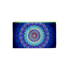 Power Flower Mandala   Blue Cyan Violet Cosmetic Bag (XS)