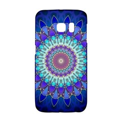 Power Flower Mandala   Blue Cyan Violet Galaxy S6 Edge