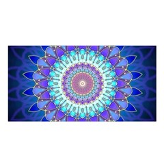 Power Flower Mandala   Blue Cyan Violet Satin Shawl