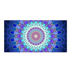 Power Flower Mandala   Blue Cyan Violet Satin Wrap
