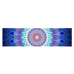Power Flower Mandala   Blue Cyan Violet Satin Scarf (Oblong)