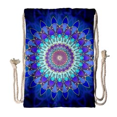 Power Flower Mandala   Blue Cyan Violet Drawstring Bag (Large)