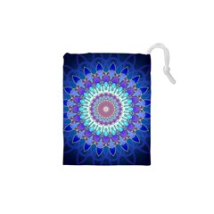 Power Flower Mandala   Blue Cyan Violet Drawstring Pouches (XS)